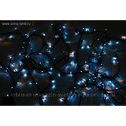 Гирлянда 18м черные нити, цвет синий 500 л с контроллер 8 р фото