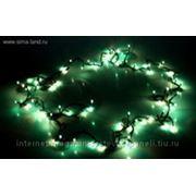 Гирлянда, с черными нитями, длина 4,5 м, 100 лампочек зеленого цвета, с контроллером 8р фото