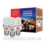Энергосберегающая компактная люминесцентная лампа КЛЛ Maxus 15Вт, Е14, 2700К, Комплект 3ESL-007-1 T2 FS фото