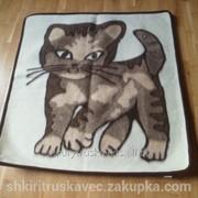 Одеяло шерстяное, 150 см на 150 см, детское, кошка фото