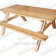 Комплект Пикник 150 см, (стол 85, 2 лавки складные), лиственница фото