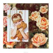 Фоторамка Сима 09*13 стекло Чайные розы с блестящей обводкой фото