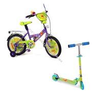 Велосипед детский 2-колесный - ВИННИ-Пух + Скутер - ВИННИ ПУХ фото