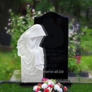 Памятник комбинированный белый мрамор, черный габбро 1 фото