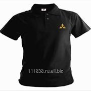 Рубашка поло Mitsubishi черная вышивка золото фото