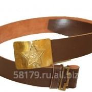 Ремень солдатский кожзаменитель коричневого цвета с латунной бляхой фото