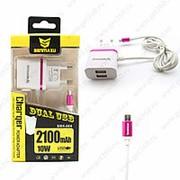Сетевое Зарядное Устройство Senmaxu SMX-004 2 USB + Micro USB Pink (Розовый) фото