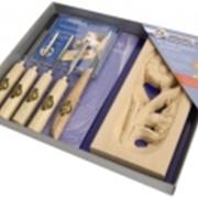Набор для резьбы по дереву Kirschen, 4 стамески, нож, заготовка фото