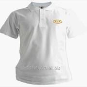 Рубашка поло Kia белая вышивка золото фото