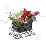 Декор Сани с еловой веточкой и птичками 45см фото