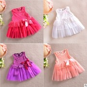 Платья детские Free shipping! Wholesale 5 sets/lot.Lace dresses of the girls.Girls vest dress with short sleeves in summer.Children's clothes., код 1585802434 фото