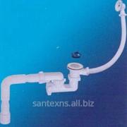Сифон для ванны регулируемый с пластиковым выпуском с переливом и гибкой трубой А-60089 фото
