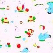 Ткань постельная Фланель 170 гр/м2 90 см Набивная/Детская 5019-1 Слоны и бегемоты на белом/S501 PTS фото