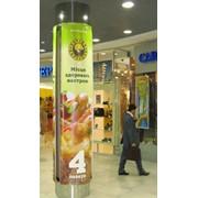 Реклама в супермаркетах Украины, брендирование тележек в супермаркетах, входных/выходных дверей, турникетов, шелф стоппер, рекламные наклейки, реклама на разделителе для покупок в супермаркете, гаража для тележек в супермаркетах