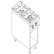 Плита газовая 2-х конфорочная с открытой базой Kogast PS-T27/P фото