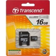 16Gb Transcend карта памяти microSDHC, Class 4, Адаптер SD, TS16GUSDHC4 фотография