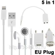 5 в 1 (зарядка от сети + автомобильная зарядка + USB-кабель + аудио сплиттер + стерео-гарнитура) для iPhone 5, iTouch 5, iPad Mini фото