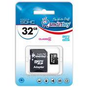 Micro SDHC карта памяти Smart Buy 32GB Class 4 (с адаптером SD) фото