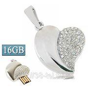 USB Flash накопитель - Серебряное бриллиантовое сердце (16 GB) фото