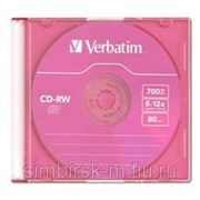Диск CD-RW 700Mb Verbatim 8-12x, Slim, Color фото