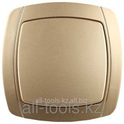 Выключатель Светозар Акцент одноклавишный в сборе, цвет золотой металлик, 10А/~250В Код:SV-54230-GM фото