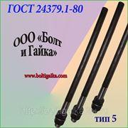 Болты фундаментные прямые, тип 5 м24х900 ГОСТ 24379.1-80. ст3-35, 35х, 40, 40х, 09г2с, 45. ( масса шпильки 3.19 кг. ). фото