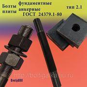 Болты фундаментные с анкерной плитой тип 2.1 м48х1600 (шпилька 3) Ст3 ГОСТ 24379.1-80 (масса шпильки 22.72 кг) фото