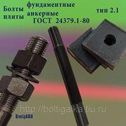 Болты фундаментные с анкерной плитой тип 2.1 м48х1800 (шпилька 3) Ст3 ГОСТ 24379.1-80 (масса шпильки 25.55 кг) фото