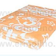 Абрикосовое байковое жаккард полутораспальное одеяло фото