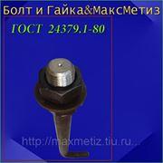 Болт фундаментный (шпилька) ГОСТ 24379.1-80 1.1 М24Х1250 ст.3 (масса шпильки 4,7 кг.) фото