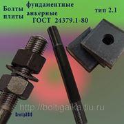 Болты фундаментные с анкерной плитой тип 2.1 м42х1800 (шпилька 3) Ст3 ГОСТ 24379.1-80 (масса шпильки 19.57 кг) фото