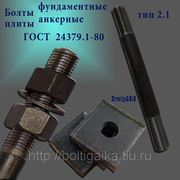 Болты фундаментные с анкерной плитой тип 2.1 м42х450 (шпилька 3) Ст3 ГОСТ 24379.1-80 (масса шпильки 4.85 кг) фото