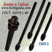 Болты фундаментные прямые, тип 5 м42х600 ГОСТ 24379.1-80. ст3-35, 35х, 40, 40х, 09г2с, 45. ( масса шпильки 6.5 фото