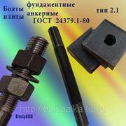 Болты фундаментные с анкерной плитой тип 2.1 м42х2240 (шпилька 3) Ст3 ГОСТ 24379.1-80 (масса шпильки 24.35 кг) фото