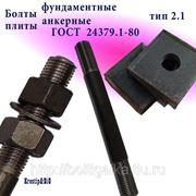 Болты фундаментные с анкерной плитой тип 2.1 м48х1000 (шпилька 3) Ст3 ГОСТ 24379.1-80 (масса шпильки 14.20 кг) фото