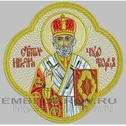 Икона в кресте СВ Николай Чудотворец - дизайн для машинной вышивки фото
