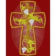 Крест 24 Виноградная лоза -дизайн для машинной вышивки фото