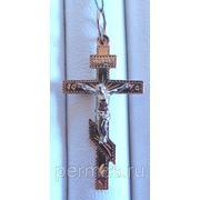 Крест православный золото 585 пр, с алмазной огранкой металла. фото