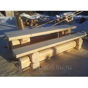 Стол и скамейки из лафетного бревна фото