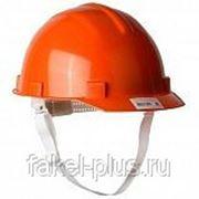 Каска защитная с тканевой амортизированная вставка оранжевая, белая фото