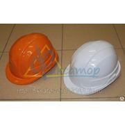 Каска строительная (оранжевая, белая) фото