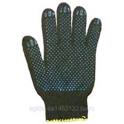 Перчатки трикотажные чёрные с ПВХ покрытием фото