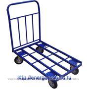 Тележка платформ 4-кол.для магазина ТПТ-400 700х1250, 500кг трубчатая,запасные колесики! фото