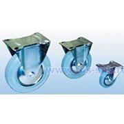 Неповоротные, платформенное крепление: Колеса для тележек полуэластичная серая резина фото