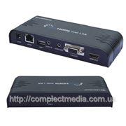 Преобразователь RJ45 в HDMI или VGA, стерео звук в удлинитель по витой паре CAT5 более 200м FULL HD 1080p. фото