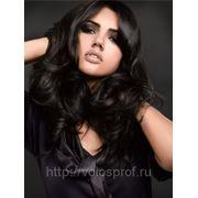 Азиатские волосы на заколках 60 см Насыщенный черный фото