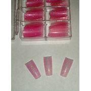 Типсы перламутровые (с блеском) 100 шт. розовые фото