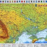 Настенная обзорная карта Украины 65 х 45 см; М1:2 350 000 - ламинированная фото