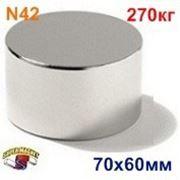 Неодимовый магнит Д-70х60 фото