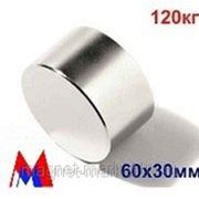 Неодимовый магнит Д-60х30 фото